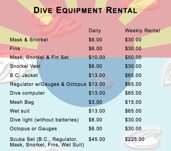 Dive Equipment Rental (Source: SunRentals)