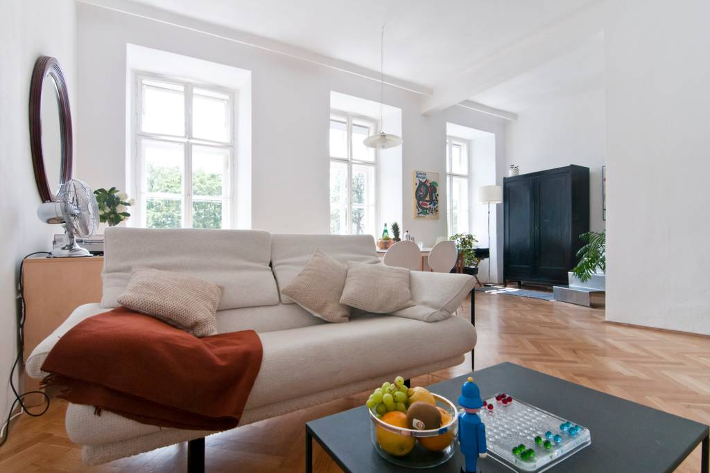 Bright & Central Vienna Airbnb Apartment: Living Room & Dining Area