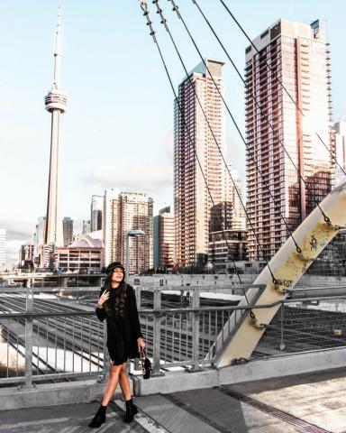 CN Tower View - CityPlace Pedestrian Bridge